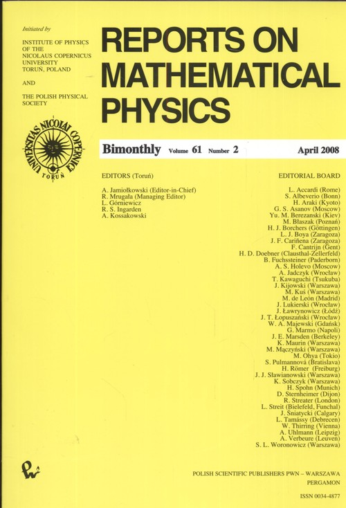 Reports on Mathematical Physics 61/2 - brak