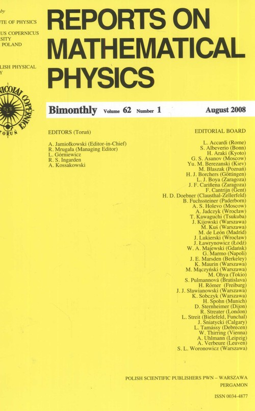 Reports on Mathematical Physics 62/1 2008 Kraj - brak