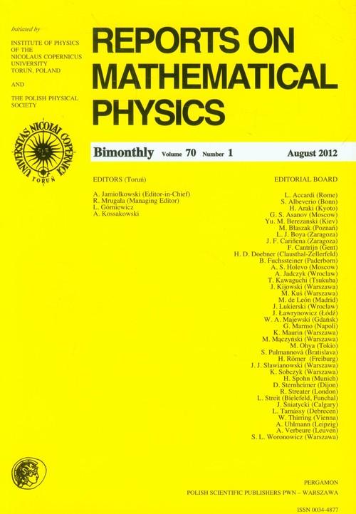 Reports on Mathematical Physics 70/1 Pergamon - brak