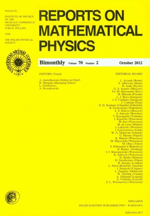 Reports on Mathematical Physics 70/2 Pergamon - brak