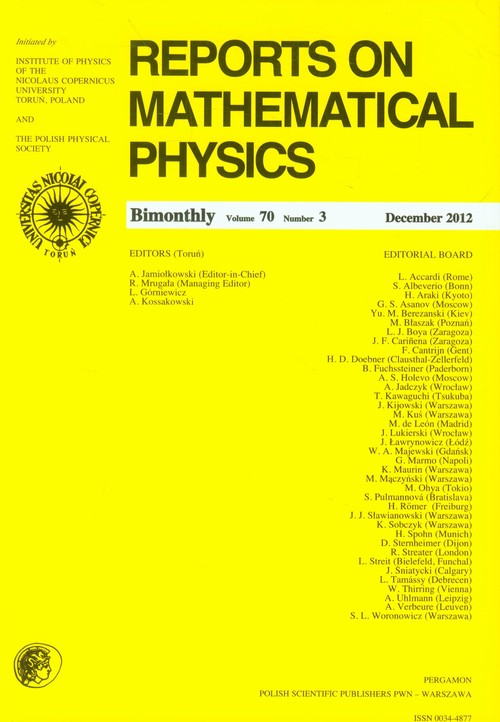 Reports on Mathematical Physics 70/3 Pergamon - brak