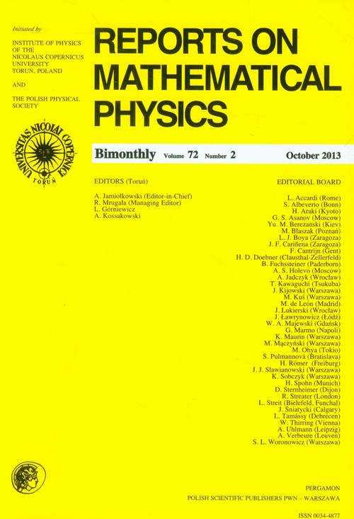 Reports on Mathematical Physics 72/2 Pergamon - brak