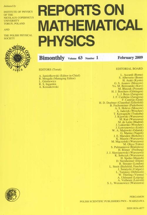 Reports on Mathematical Physics 79/2 2017 - brak