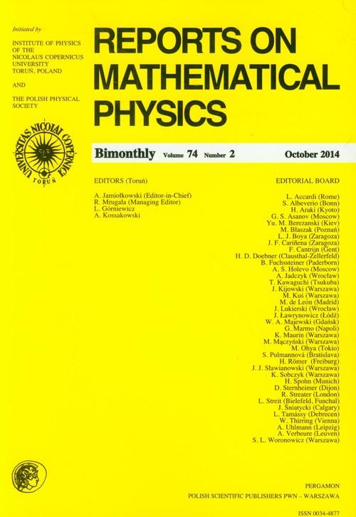 Reports on Mathematical Physics 74/2014 - brak