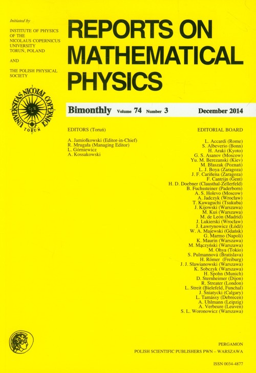 Reports on Mathematical Physics 74/3 2014 Pergamon - brak