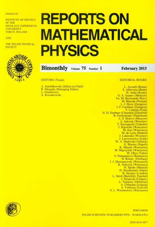 Reports on Mathematical Physics 75/1 2015 Pergamon - brak