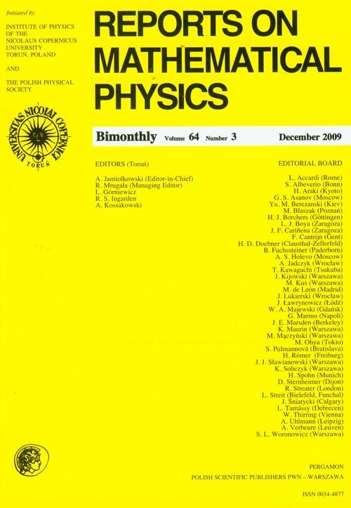 Reports on Mathematical Physics 64/3 2009 - brak