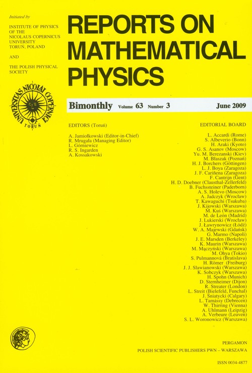 Reports on Mathematical Physics 63/3 2009 Perg - brak