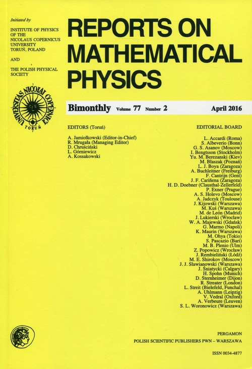 Reports on Mathematical Physics 77/2016 Pergamon - brak