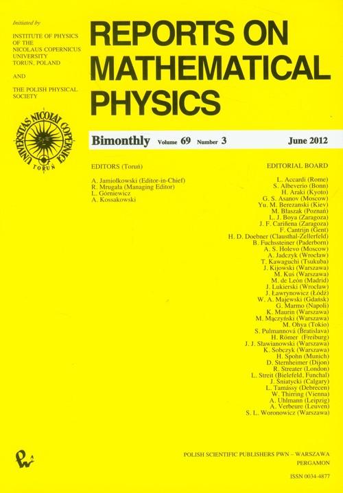 Reports on Mathematical Physics 69/3 /2012 - brak