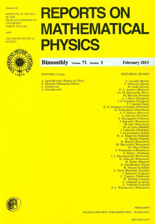 Reports on Mathematical Physics 54/1 wer.eksp. - brak